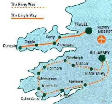 hiking in Ireland. 7 night the ring of Kerry way - county Kerry Ireland. The route of our Kerry way tour in county Kerry, Ireland