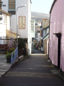 Narrow street in the Dorset village of Lyme Regis. Walking the Dorset Coast Path and Lyme Regis. Image provided by Judy Calman