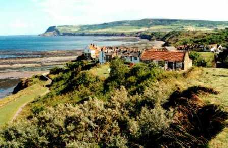 18 night wainwrights coast to coast st Bees to robin hoods bay england. robin hoods bay perches on the north Yorkshire coast, the end of this coast to coast hike.